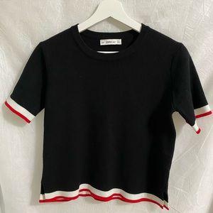 ZARA Knit Top Black, Red, white Edges Size M (EUC)